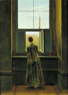 Moça à janela, 1822 Caspar David Friedrich (Alemanha, 1774-1840) óleo sobre tela, 44 x 73 cm Alte Nationalgalerie, Berlim