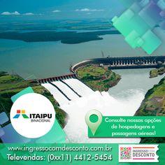 A Itaipu é a maior geradora de energia limpa e renovável do planeta em uma região de destinos turísticos surpreendentes, onde a natureza exibe todo seu esplendor. Gostou? Então vem curtir! Compre agora: www.ingressocomdesconto.com.br Televendas: (0xx11) 4412-5454