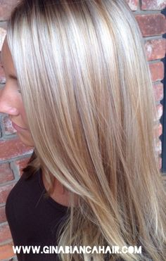 Beautiful platinum blonde highlights and lowlights to make this blonde beautiful for fall! Fall hair doesn't have to be dark! Just changing the tone of your blonde gives a whole new look without compromising your color www.GINABIANCAHAIR.com by suzette