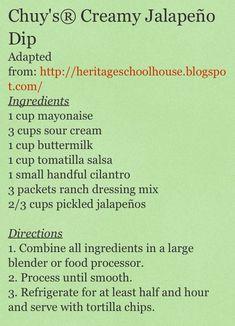 Chuy's Creamy Jalapeño Dip Recipe