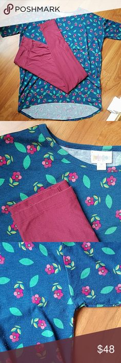 Lularoe Irma (M) and Tall and Curvy Leggings This outfit is one that I love I just don't wear it as much as the other stuff in my stash! The top is real with a flower pro t and the wine color of the leggings match the petals beautifully! There is some slight piling but it doesnt affect the beaury of the pieces at all!  Remember that the Irma top runs large I'm a 10/12 And this outfit fits beautifully to cover my bum. LuLaRoe Tops Tunics