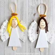 These wooden spoon angel Christmas ornaments are elegant and will add a pretty touch to your tree every year. Great homemade Christmas ornament for kids.