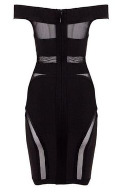 Irene Black Cutout Detail Bandage Dress