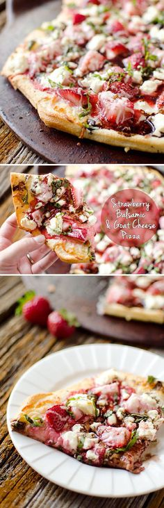Strawberry Balsamic & Goat Cheese Pizza - A fresh summer pizza recipe loaded with sweet strawberries and basil, creamy goat cheese and tangy balsamic reduction for a unique and flavorful pizza unlike any other! #Pizza #Vegetarian #Fruit