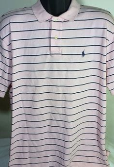 Ralph Lauren Polo Mens Size XL Pink Striped Button Up Polo #RalphLauren #PoloRugby