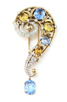 1940's Trifari yellow and blue pin.... For a Victorian Take on The Doctor