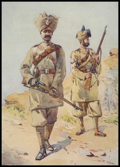 Soldiers of the Punjabis, Awan and the Duke of Cambridge's Own Infantry, illustration for 'Armies of India' by Major G. MacMunn, published in 1908 Wall Art & Canvas Prints by Alfred Crowdy Lovett Military Art, Military History, Military Uniforms, World War One, First World, Ww1 Art, Indiana, British Army Uniform, Uk History