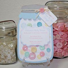 Mason jar Invitation Baby Shower buttons by JillyBearDesigns