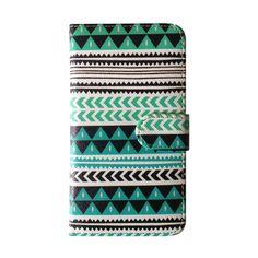 Samsung Galaxy S5 Aztec tribal lederen flip cover hoesje