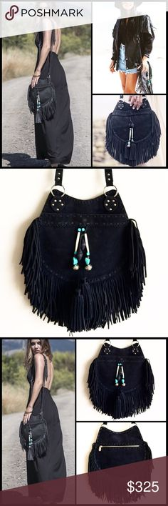 """SABAII ✌️ Mahla Bag NWOT Sold exclusively in boutiques in Australia & no longer available, these bags are AMAZING!! For those with messy hair, salty skin & sand at your feet.. Stunning hand-crafted handbag in soft nubuck buffalo leather with draping tassels & raw leather edges. The bag features a handcrafted bone & turquoise beaded embellished tassle and has 100% pig suede lining. Front slip pocket big enough for your essentials & a back zipper pocket.   Height: 9.5""""  Width: 9.5""""  Strap…"""