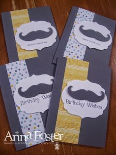 My Little Creative Nook: Fathers Day Ideas Mustache Cards, Moustache, Fathers Day Cards, Diy Invitations, Masculine Cards, Diy Cards, Birthday Wishes, Nook, Stampin Up