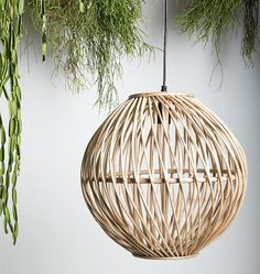 This Urban Nature Culture cane lamp is an eye catcher, even when it's switched off. Beach House Lighting, Boho Lighting, Modern Lighting, Pendant Lighting, Japanese Interior, Wooden Lamp, Dining Room Inspiration, Rattan Furniture, Luxury Furniture