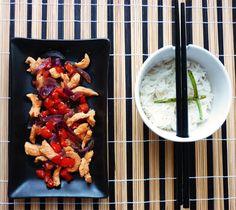 poulet caramélisé façon chinatown et son riz blanc parfumé aux oignons nouveaux