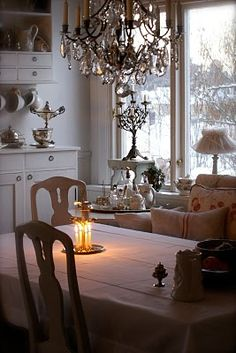 Swedish decor.....love the candles