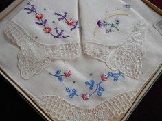 Vintage Embroidered Pink Rose Purple Flower Handkerchief Set 3 Original Box Hankies Unused Hanky Irish Linen Cotton Embroidery Lace Edge NOS...