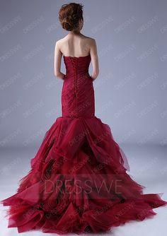 Dresswe.com SUPPLIES Excellent Mermaid Strapless Casscading Ruffles Chapel Train Color Wedding Dress Trumpet/Mermaid Wedding Dresses (2)