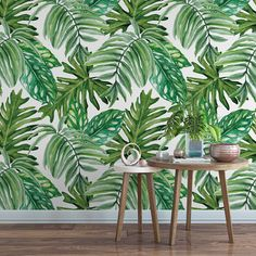 Palm leaf removable wallpaper / monstera leaf self adhesive