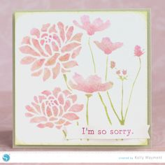 Stenciled flower card tutorial by Kelly Wayment for Silhouette