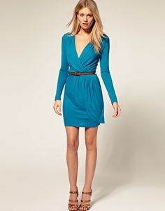 ASOS PETITE Exclusive Long Sleeve Belted Wrap Front Dress. $60.88. Comes in 2 colors.