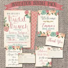 Bridal Shower Invitation Printable Pack Bridal by ArtByHeartPrints