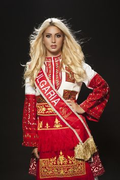 Bulgarian girl in Queen of the Universe with traditional costume Folk Fashion, Ethnic Fashion, Womens Fashion, Folk Costume, Costumes, Costume Ethnique, Beautiful People, Beautiful Women, Culture