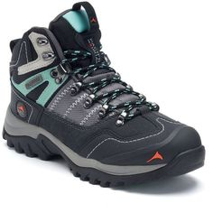 Pacific Mountain Ascend Women's Waterproof Hiking Boots (1.275 ARS) ❤ liked on Polyvore featuring shoes, dark grey, waterproof hiking boots, traction shoes, laced shoes, lace up hiking boots and dark grey shoes