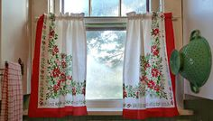 Vintage Christmas tablecloth turned kitchen curtains (from Old Glory Cottage)