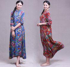Floral dress,plus size long dress,maxi dress,cotton dress,loose dress,long sleeve dress,large size blouse,tops