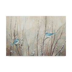 This ready to hang, gallery-wrapped art piece features two blue birds perched on thin stems. Fine artist and muralist Julia Purinton divides her time between the gentle landscape of north shore Boston and a small rural village in Vermont. Artist Canvas, Canvas Art, Canvas Prints, Abstract Canvas, Framed Art, Framed Prints, Wall Art, Wall Decor, Thing 1