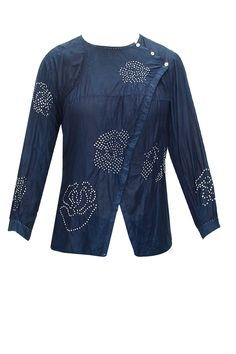 Natural indigo bandhani wrap shirt in cotton/silk : Pernia's Pop-Up Shop.