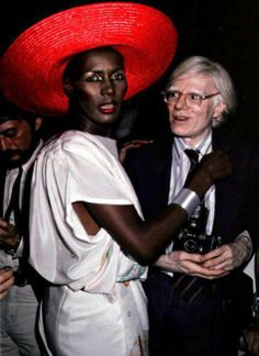 Grace Jones and Andy Warhol.