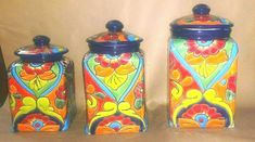 "TALAVERA COBALT BLUE 3 Piece Canisters Set From Mexico Handcrafted Mexican - $150.00. Canisters Measurements: Largest: 6 x 13"" Medium: 7 x 11"" Smaller: 6 1/2 x 10"" Beautifully Handcrafted and painted by skilled artisans in mexico. Talavera is a blend of indigenous and European artistry, the history of Talavera is as colorful as its various patterns. Talavera is a style of pottery within a larger category of ceramics called Majolica, referring to any earthenware involving handmade pottery, cerami"