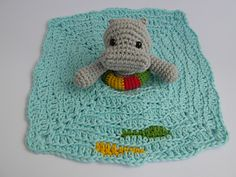 Swimming Hippo Lovey #crochet pattern by Justyna Kacprzak #giftalong2014
