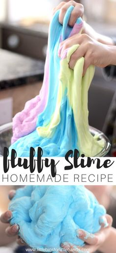 Learn how to make fluffy slime with glue, shaving cream, and saline solution. Making slime is fun and easy with our homemade slime recipes! Slime is a great kids science demonstration and sensory play activity.
