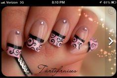 Pink and black swirls
