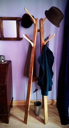 handmade solid eco wood coat & hat stand hall by MarcWoodJoinery