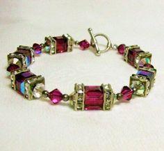 Fuschia Swarovski Crystal Toggle Bracelet at Redrosejewelry.com