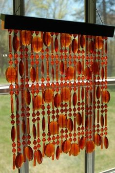 Vintage Amber Beaded Curtain Window