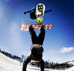 Amazing snowboard trick! Handstand rail! I gotta try this sometime!!