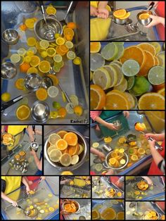 "Citrus ""Soup"" in the Water Tray (from Stimulating Learning with Rachel) Baby Room Activities, Senses Activities, Eyfs Activities, Infant Activities, Summer Activities, Water Play Activities, Baby Sensory, Sensory Bins, Sensory Play"