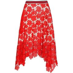 Tommy Hilfiger Lace Skirt ($400) ❤ liked on Polyvore featuring skirts, red, tommy hilfiger, red lace skirt, knee length lace skirt, lacy skirt and tommy hilfiger skirts