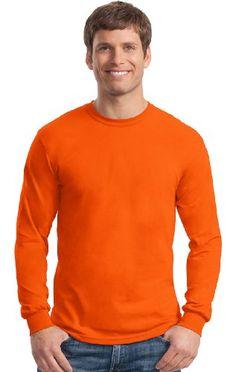 Mens long sleeve moisture wicking t-shirt. (Orange) (X-Large)