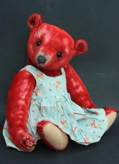 Vintage style red mohair teddy bear  by Victoria Allum of Humble Crumble Bears - www.victoriaallum.co.uk