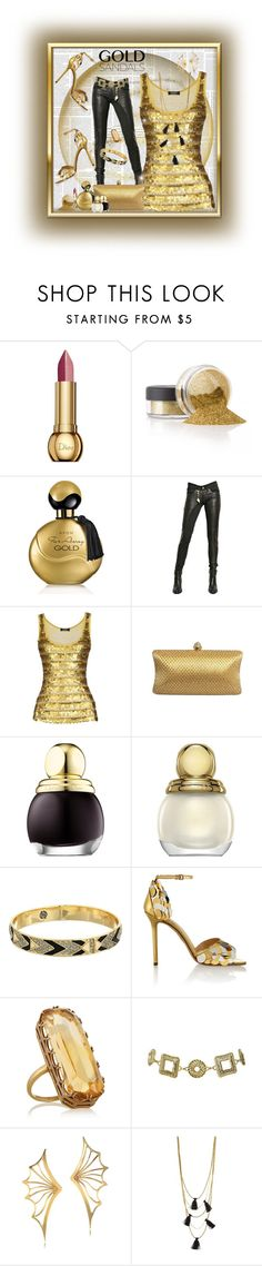 """""""Golden Night"""" by xtina75 ❤ liked on Polyvore featuring Christian Dior, Avon, Tuesday Night Band Practice, Frame, House of Harlow 1960, Charlotte Olympia, Fred Leighton, Arden B., Bernard Delettrez and NAKAMOL"""