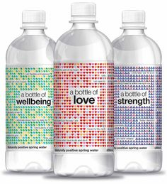 A Bottle Of 'Love', 'Strength' and 'Wellbeing' water bottle labels, Silver Award, Food and Beverage Packaging, A Bottle Of, James Armstrong