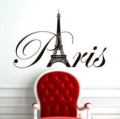 Paris Eiffel Tower Wall Decal Vinyl Lettering Wall Decals Vinyl Stickers Paris Skyline Silhouette France Living Room Art Bedroom Decor Approximate