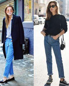 Já faz algum tempo que o mom jeans é tendência e ele continua dando o que falar. Podendo ser usada no escritório ou no fim de semana, a peça é versátil e fashion.