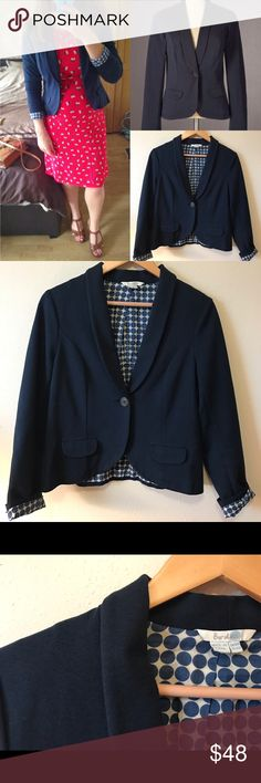 """Boden Roma Navy Blue Jacket Blazer US Size 12R (UK 16R). EUC! Outer: 39% cotton/30% polyamide/26% modal/5% elastane Body Lining: 100% cotton Sleeve Lining: 100% polyester Approximate Measurements (while laying flat): Bust: 20"""" Length: 22"""" Boden Jackets & Coats Blazers"""