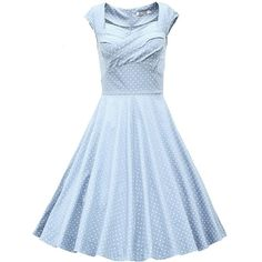 MUXXN Women's 1950s Retro Vintage Cap Sleeve Party Swing Dress ($20) ❤ liked on Polyvore featuring dresses, swing dress, blue dress, blue cocktail dresses, party dresses and blue vintage dress