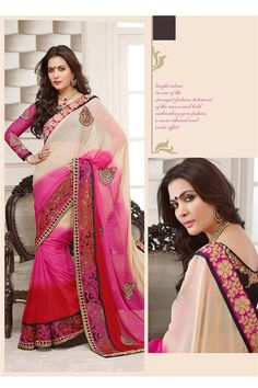 Cream, Red, Hot Pink Georgette Designer party wear saree